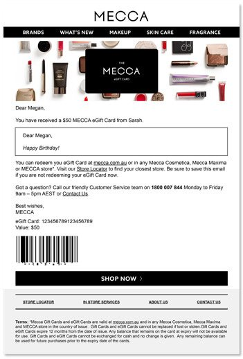 MECCA | Gift Cards | The ultimate gift for every beauty buff