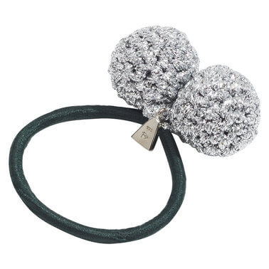 Lucy Folk Rock Formation Hair Tie Silver Emerald | Tuggl